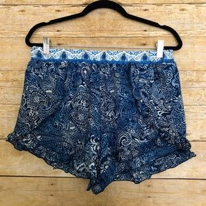 Meraki Blue Paisley Flowy Shorts With Ruffle Trim